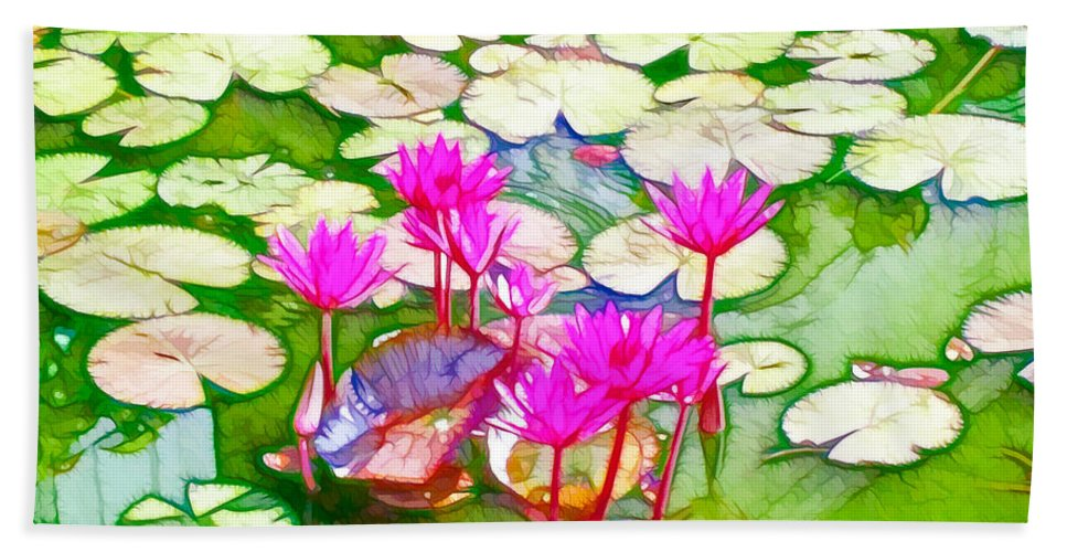 Pond Hand Towel featuring the painting Lotus Flower 3 by Jeelan Clark