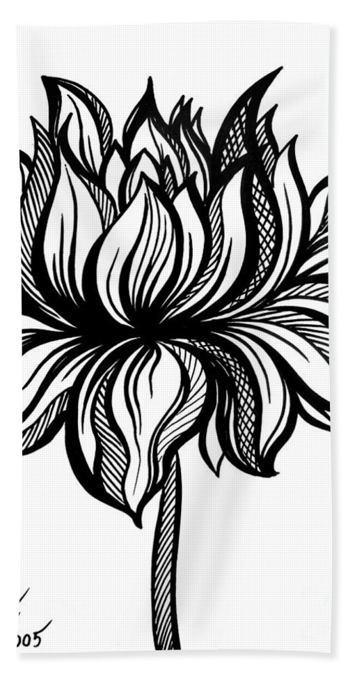 Lotus Flower. Black-white Drawing Bath Towel for Sale by Sofia Metal ...