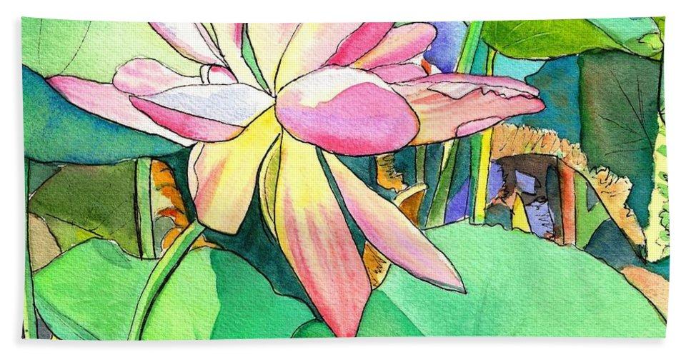 Kauai Bath Sheet featuring the painting Lotus Flower by Marionette Taboniar