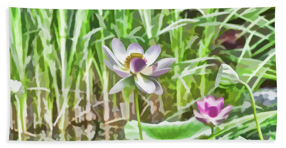 Macro Shot At Center Of Lotus Blossom Hand Towel featuring the painting Lotus Flower On The Water by Jeelan Clark