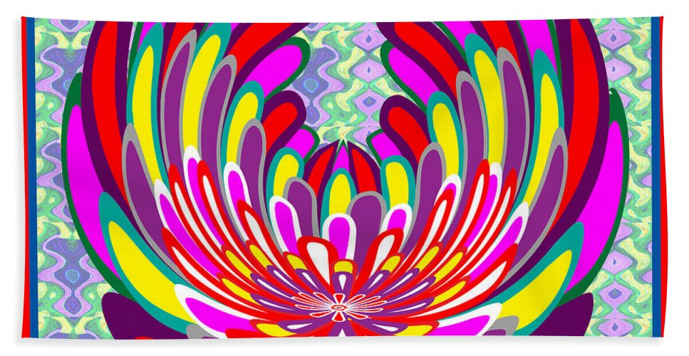Lotus Bath Sheet featuring the mixed media Lotus Flower Stunning Colors Abstract Artistic Presentation By Navinjoshi by Navin Joshi
