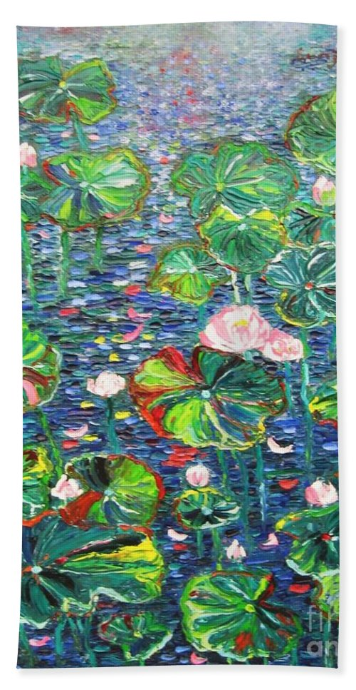 Water Lily Paintings Bath Towel featuring the painting Lotus Flower Water Lily Lily Pads Painting by Seon-Jeong Kim