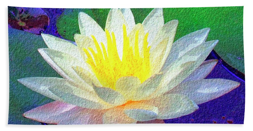 Lotus Grace Hand Towel featuring the painting Lotus Grace by Dominic Piperata
