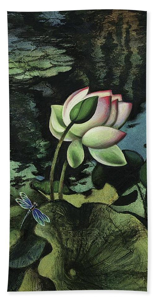 American Hand Towel featuring the painting Lotus Pond by Robert McIntosh