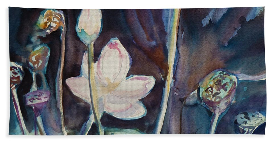 Watercolor Hand Towel featuring the painting Lotus Study II by Xueling Zou