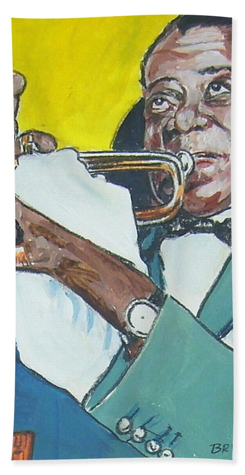 Louis Armstrong Hand Towel featuring the painting Louis Armstrong by Bryan Bustard