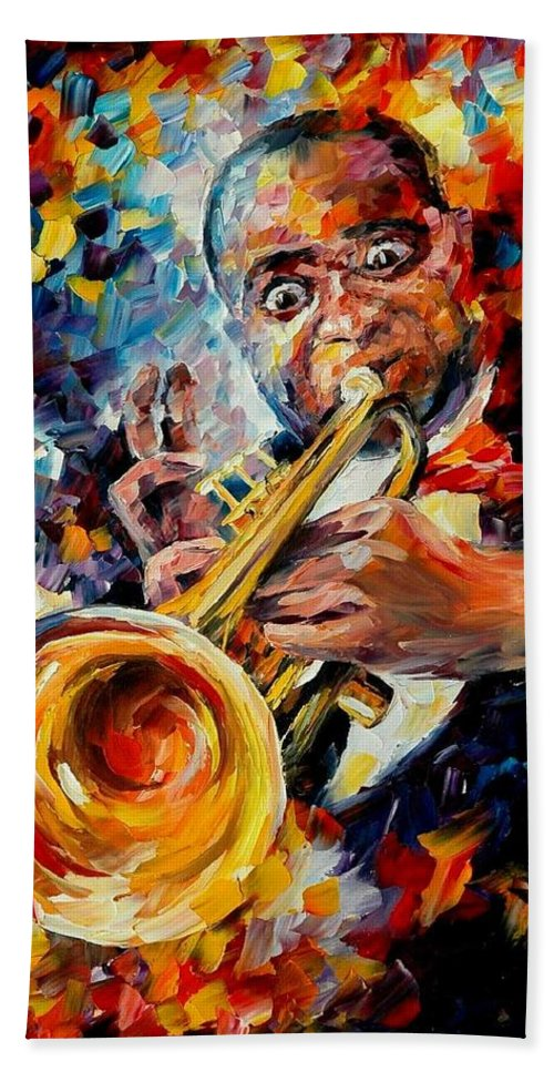 Music Bath Towel featuring the painting Louis Armstrong by Leonid Afremov