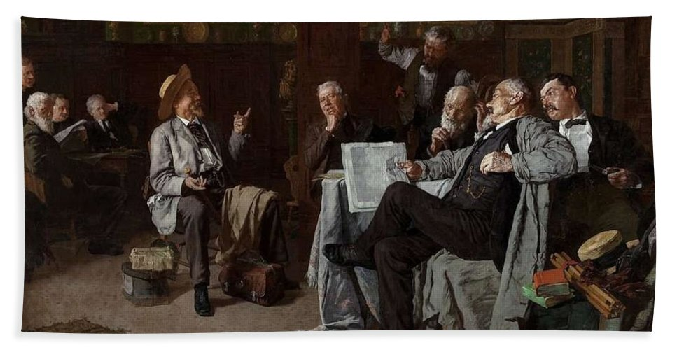Man Hand Towel featuring the painting Louis Charles Moeller - The Dubious Tale by Louis Charles Moeller