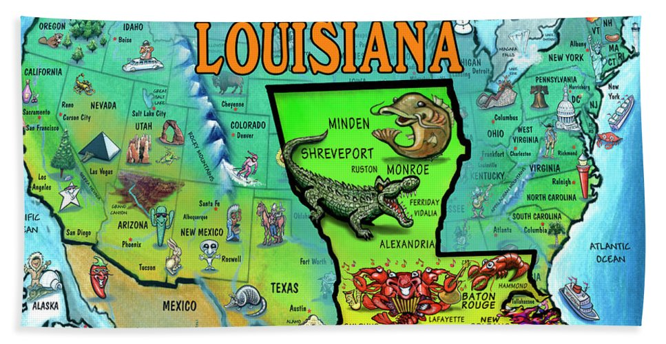 Louisiana Hand Towel featuring the painting Louisiana Usa Cartoon Map by Kevin Middleton