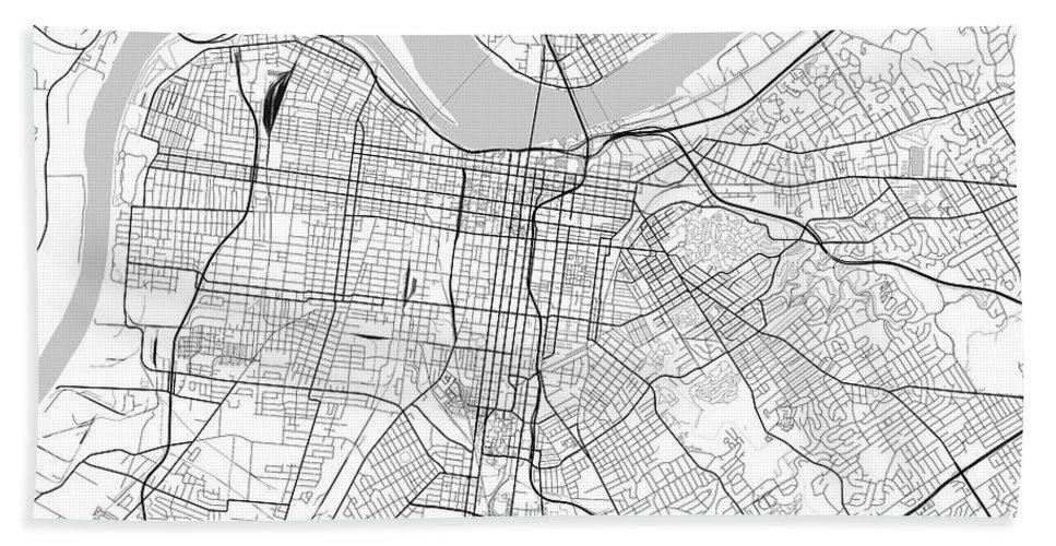 Louisville Kentucky Usa Light Map Hand Towel on blank printable state outlines kentucky, outline of the state of kentucky, printable outline map of kentucky, drawing outline of kentucky,