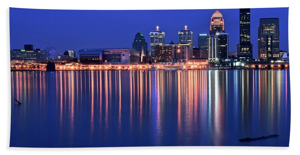 Louisville Hand Towel featuring the photograph Louisville Lights Up Nicely by Frozen in Time Fine Art Photography