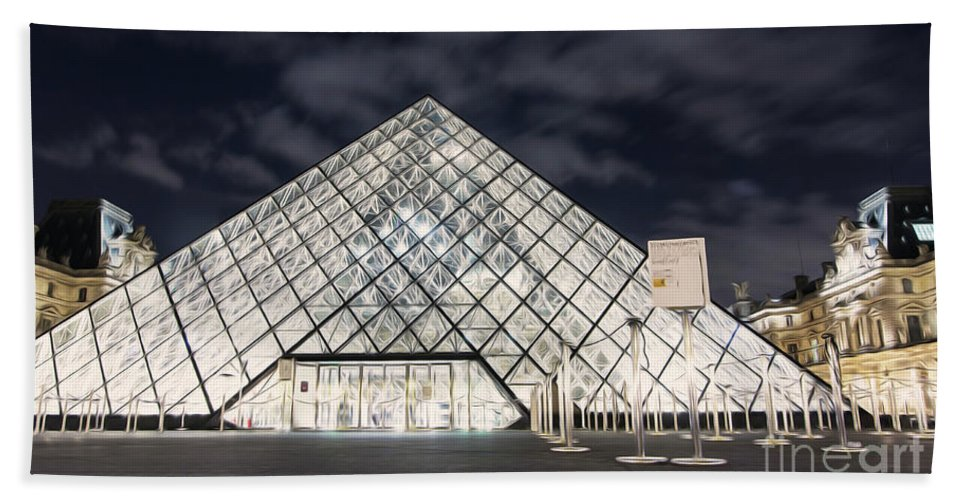 Paris Hand Towel featuring the photograph Louvre Museum Art by Alex Art and Photo