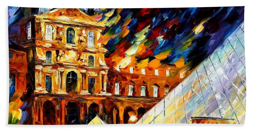 Afremov Bath Sheet featuring the painting Louvre Museum by Leonid Afremov