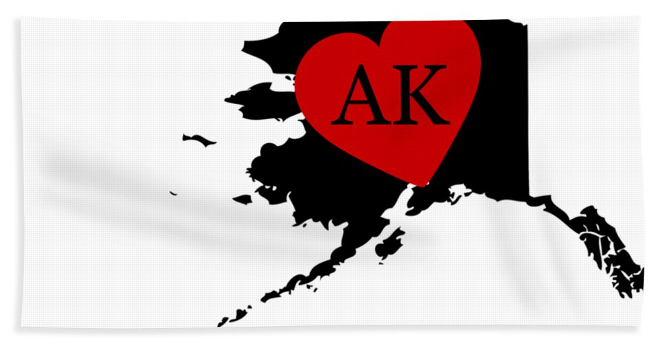 Alaska Hand Towel featuring the digital art Love Alaska Black by Custom Home Fashions
