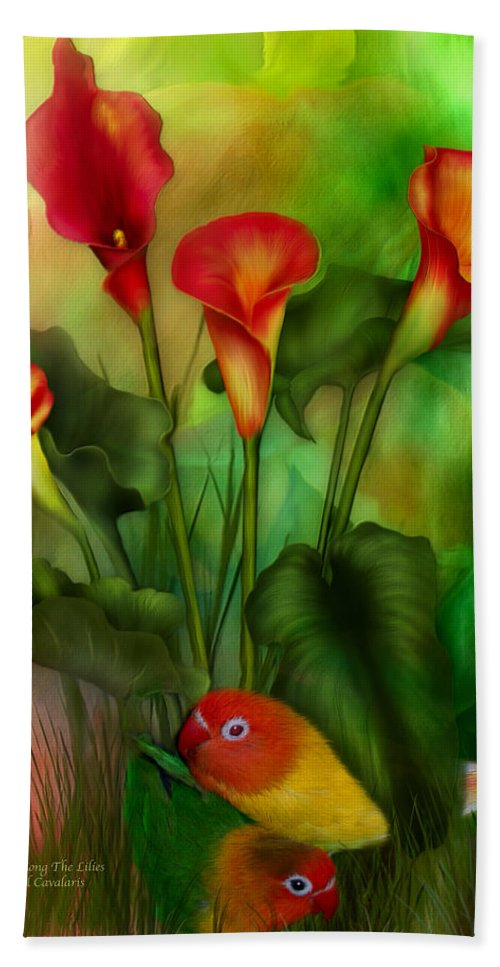 Lovebird Hand Towel featuring the mixed media Love Among The Lilies by Carol Cavalaris