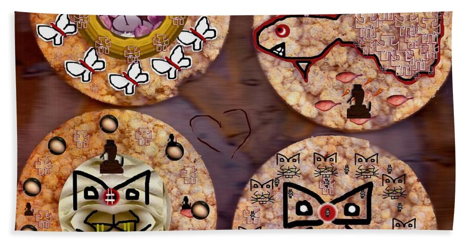 Canvas Hand Towel featuring the mixed media Love And Rice Cake by Pepita Selles