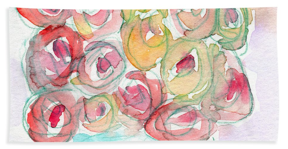 Roses Bath Sheet featuring the mixed media Love And Roses- Art By Linda Woods by Linda Woods