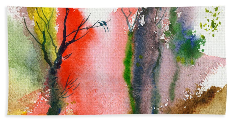 Landscape Hand Towel featuring the painting Love Birds 2 by Anil Nene