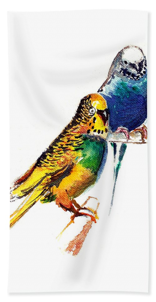 Nature Hand Towel featuring the painting Love Birds by Anil Nene
