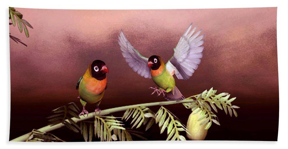 Animals Hand Towel featuring the digital art Love Birds By John Junek by John Junek