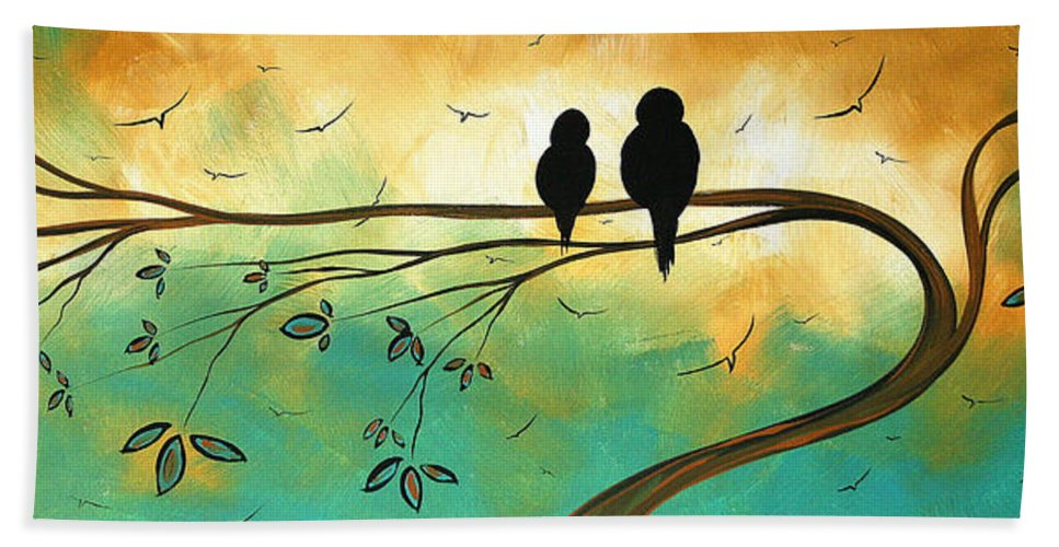 Art Bath Towel featuring the painting Love Birds By Madart by Megan Duncanson