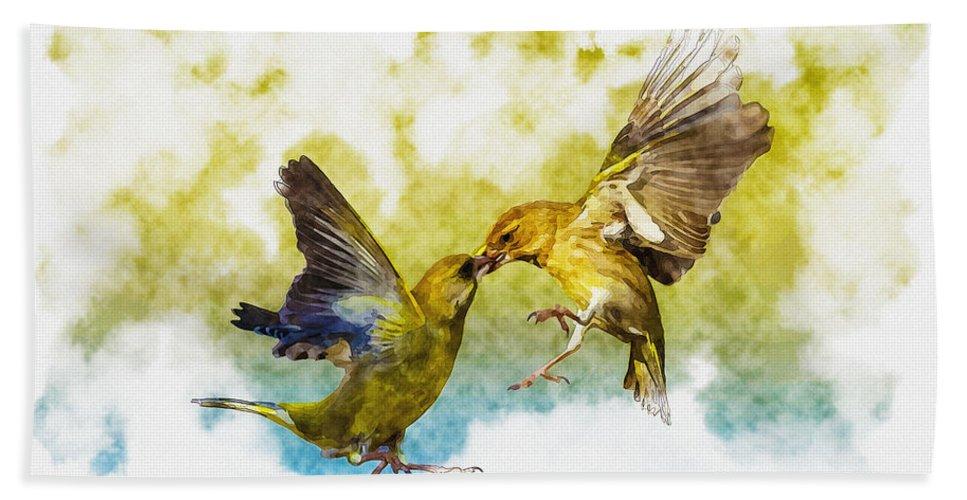 Art & Collectibles Bath Sheet featuring the digital art Love Birds by Don Kuing