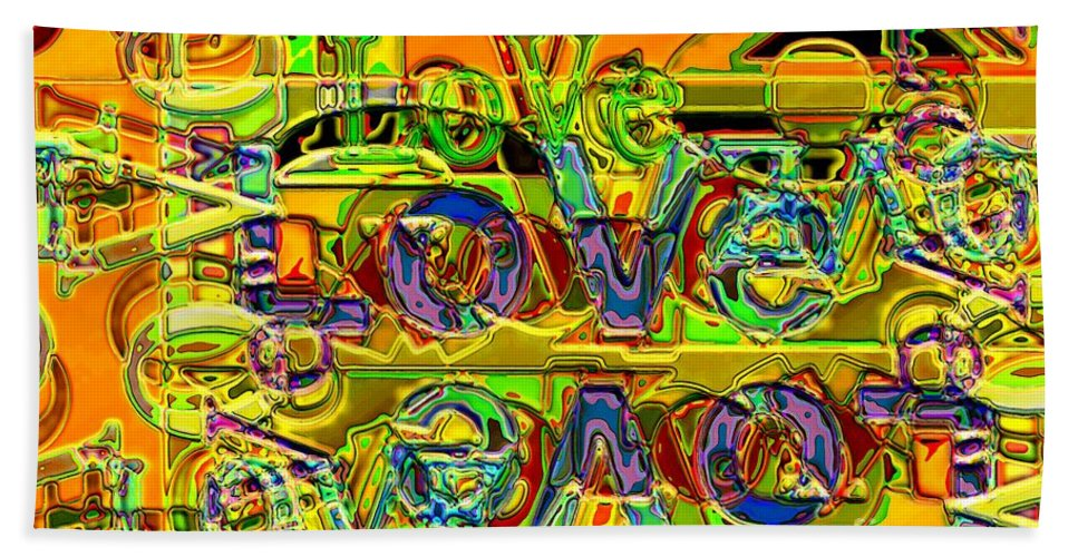 Abstract Hand Towel featuring the digital art Love Contest by Ron Bissett