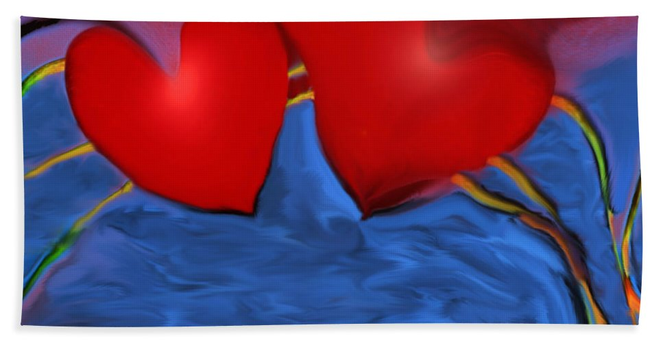 Hearts Hand Towel featuring the digital art Love Flow by Linda Sannuti