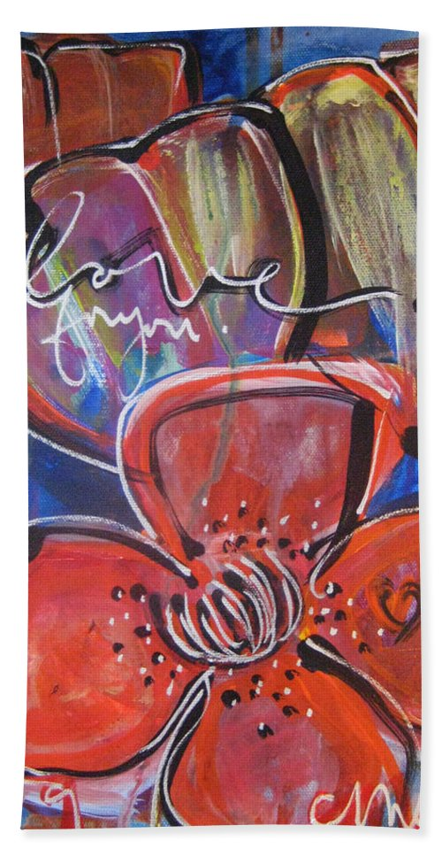 Poppies Hand Towel featuring the painting Love For You No.1 by Laurie Maves ART