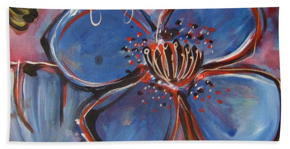 Blue Hand Towel featuring the painting Love For You No.2 by Laurie Maves ART