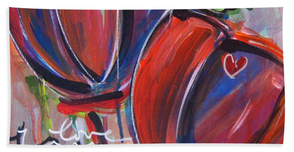 Poppies Hand Towel featuring the painting Love For You No.3 by Laurie Maves ART