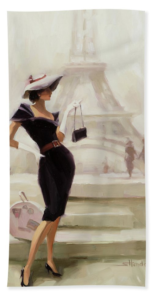 Paris Bath Towel featuring the painting Love, from Paris by Steve Henderson