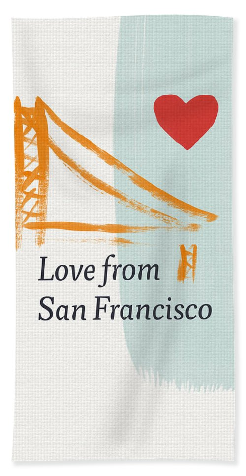 Love Bath Towel featuring the painting Love From San Francisco- Art by Linda Woods by Linda Woods