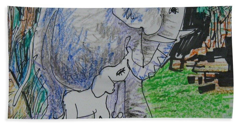 Elephant Bath Towel featuring the drawing Love I by Guanyu Shi