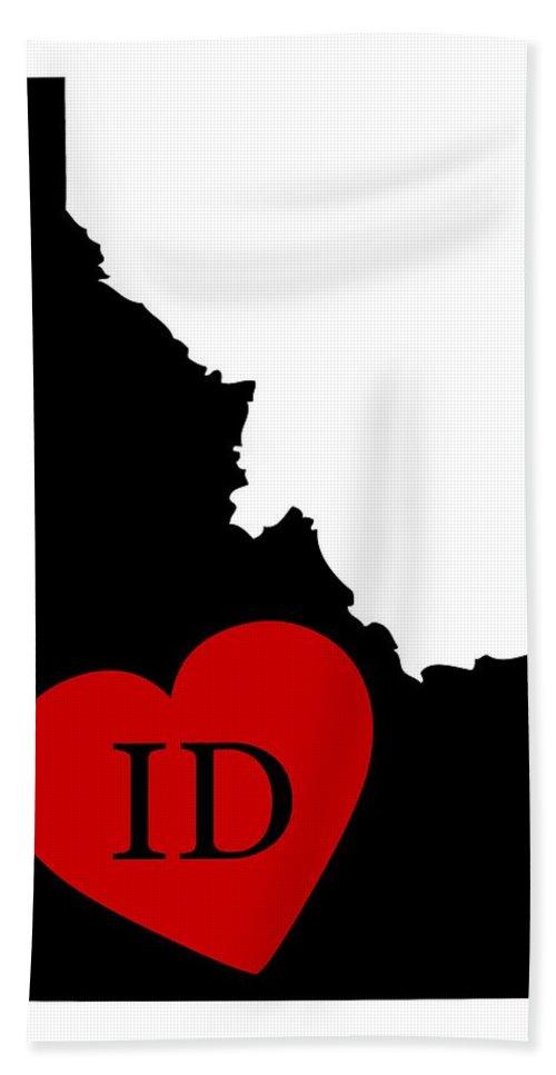 Idaho Bath Sheet featuring the digital art Love Idaho Black by Custom Home Fashions