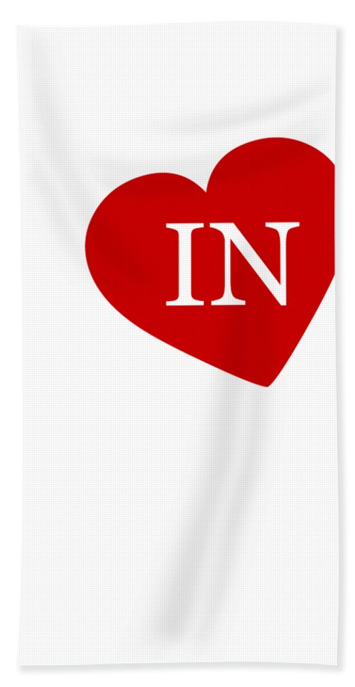 Indiana Hand Towel featuring the digital art Love Indiana White by Custom Home Fashions