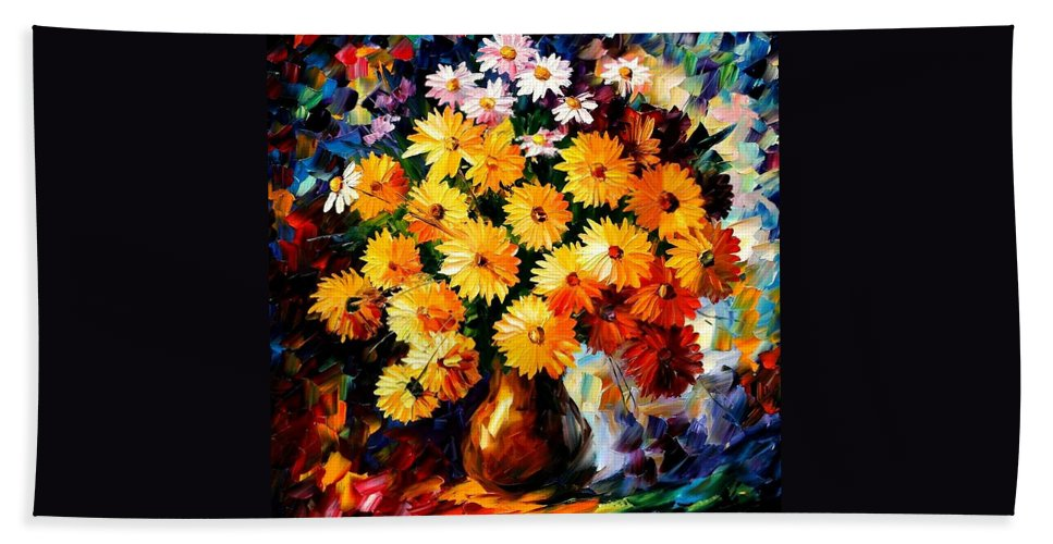 Flowers Bath Towel featuring the painting Love Irradiation by Leonid Afremov