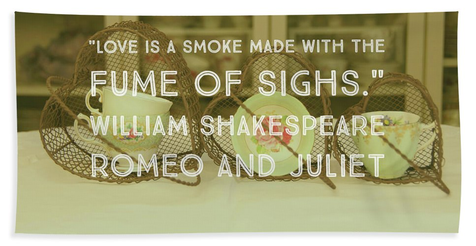 Typography Hand Towel featuring the photograph Love Is A Smoke by Karen Cross