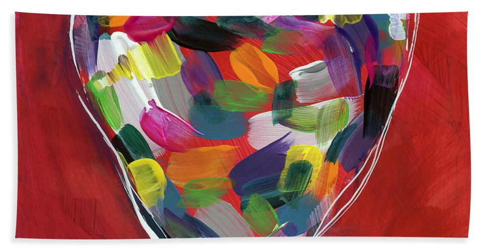 Heart Bath Towel featuring the painting Love Is Colorful - Art By Linda Woods by Linda Woods