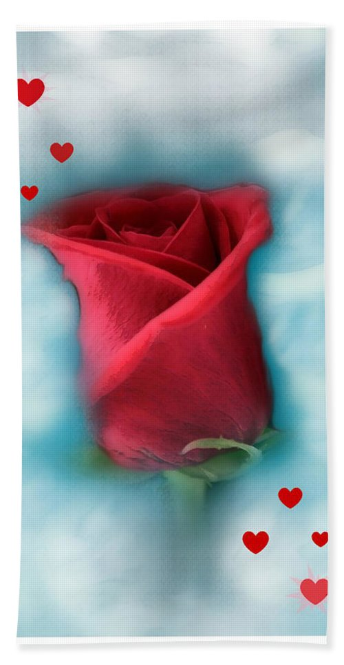 Rose Art Hand Towel featuring the photograph Love Is In The Air by Linda Sannuti