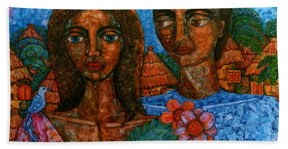 Love Bath Towel featuring the painting Love Is Like A Bird by Madalena Lobao-Tello