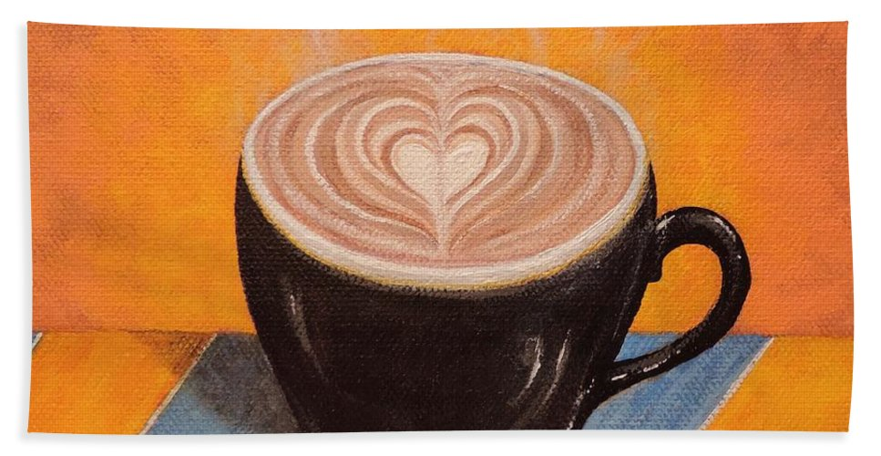 Coffee Bath Sheet featuring the painting Love It Hot by Margaret Bobb