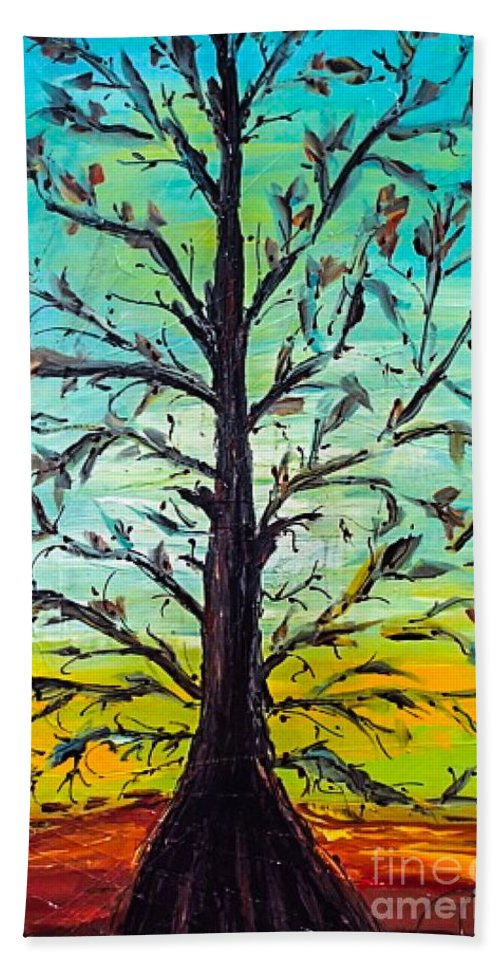 Tree Hand Towel featuring the painting Love Life by Paula Baker