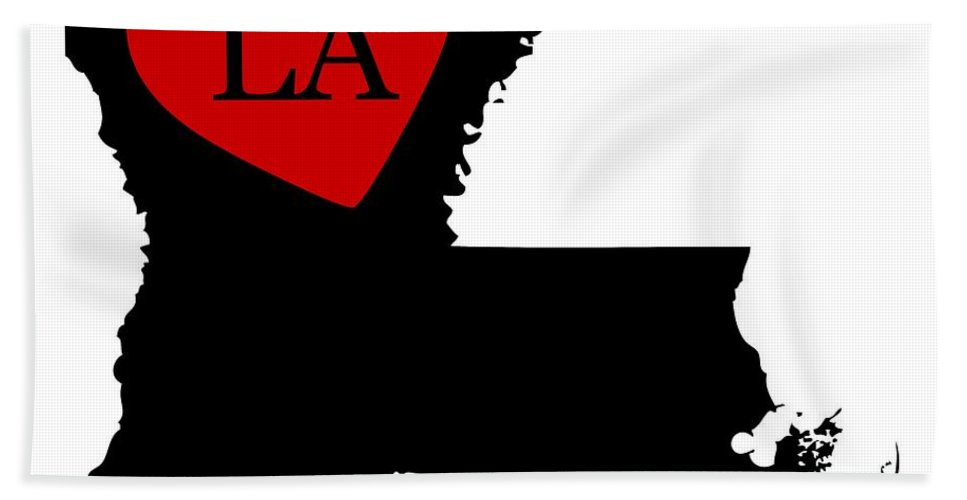 Louisiana Bath Sheet featuring the digital art Love Louisiana Black by Custom Home Fashions