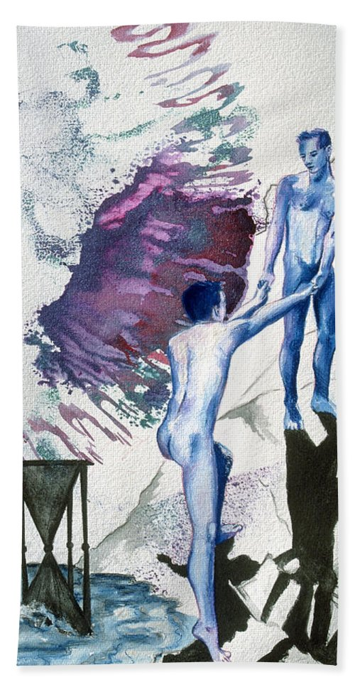 Rene Capone Bath Sheet featuring the painting Love Metaphor - Drift by Rene Capone
