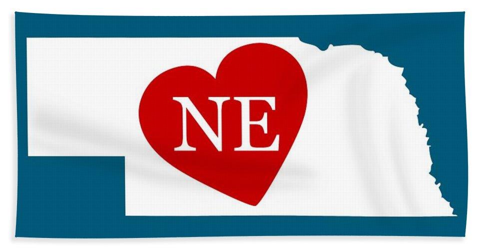Nebraska Hand Towel featuring the digital art Love Nebraska White by Custom Home Fashions