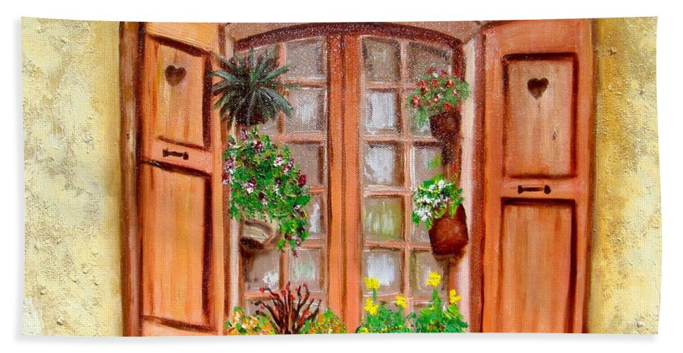 Windows Bath Sheet featuring the painting Love Nest by Laurie Morgan