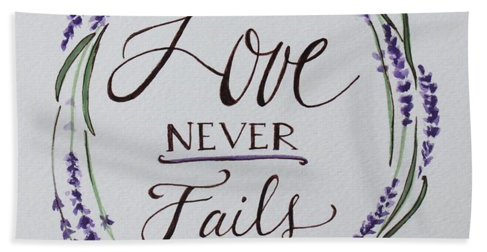 Lavender Bath Sheet featuring the painting Love Never Fails by Elizabeth Robinette Tyndall