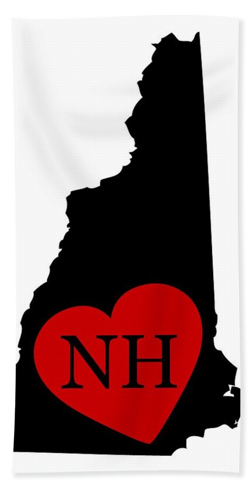 New Hampshire Hand Towel featuring the digital art Love New Hampshire Black by Custom Home Fashions