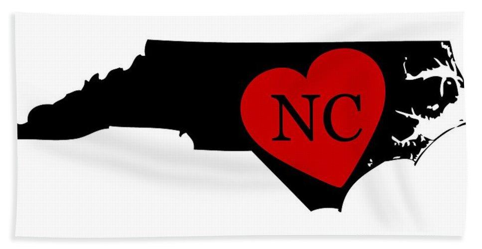 North Carolina Hand Towel featuring the digital art Love North Carolina Black by Custom Home Fashions